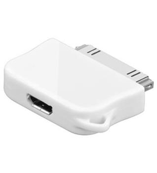 Adaptér Micro USB na Apple konektor pro iPod, iPhone a iPad bílý