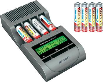 Nabíjačka Voltcraft Charge Manager 410 plus baterie + 4x AA a 4x AAA NiZN