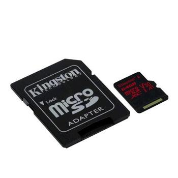Pamäťová karta Kingston microSDXC Canvas React U3 V30 64GB, 100R/70W + SD adapter