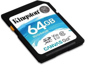 Pamäťová karta Kingston SDXC Canvas Go U3 V30 64GB, 90R/45W