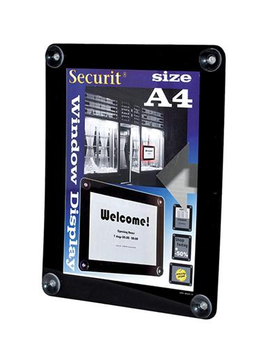 Rámik Securit WINDOWS POSTER FRAME na sklo, A4, Black