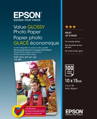Papier Epson Value Glossy Photo Paper 10x15cm 100 sheet