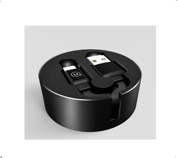Kábel USAMS SJ150 Dátový Lightning Storage U-Bin Black (EU Blister)