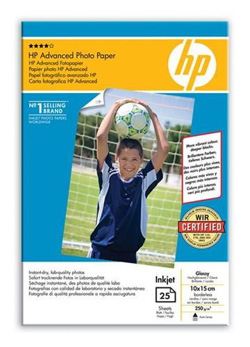Papier HP Advanced Glossy Photo Paper 10x15cm, 25ks, 250g/m2