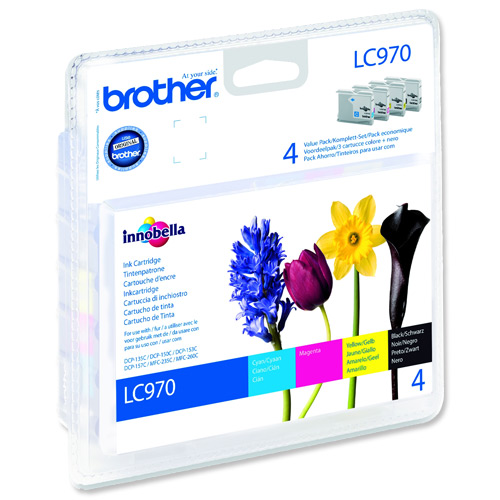 Atrament Brother Ink LC-970 VALBP multipack černá+C+M+Y