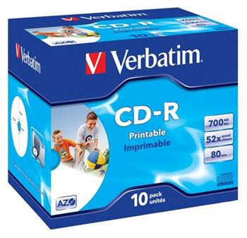 Médium Verbatim CD-R 700MB 80min 52x Crystal Printable jewel
