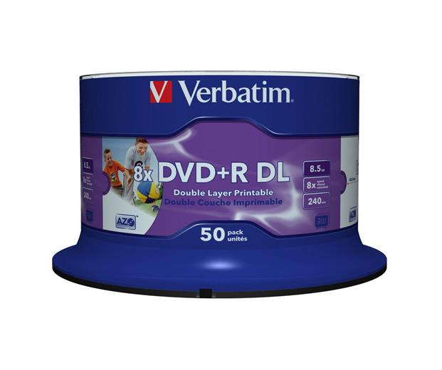 Médium Verbatim DVD+R DL 8,5GB 8x Printable 50-cake