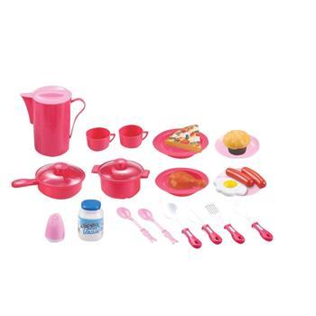 Hračka G21 Detský plastový riad ružový 39ks