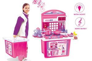 Detská kuchynka G21 s příslušenstvím v kufru růžová - ROZBALENO!