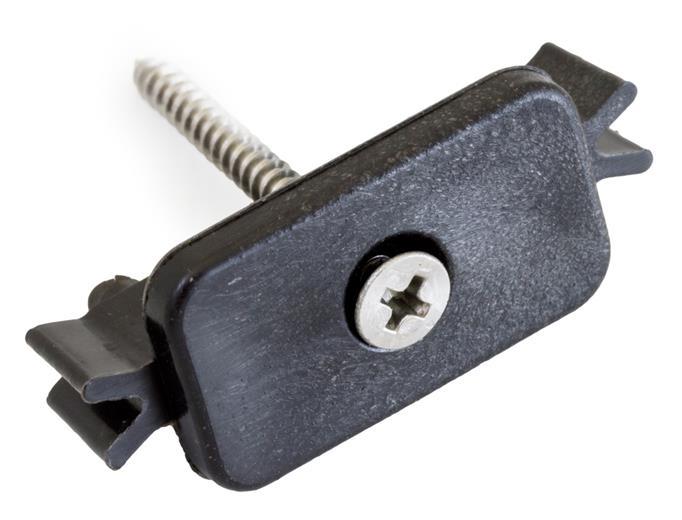 Príchytka G21 terasového prkna k nosníku terasových dosiek, s oceľovou skrutkou