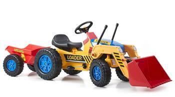 Šliapací traktor G21 Classic s nakladačem a vlečkou žluto/modrý