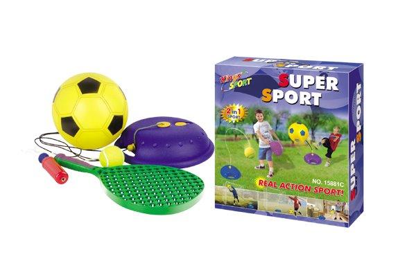 Hračka G21 Lopta futbalový a tenisová s raketou na povrázku
