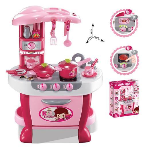 Detská kuchynka G21 Malá kuchařka s příslušenstvím růžová