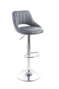 Barová stolička G21 Aletra koženková, prešívaná grey