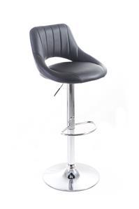 Barová stolička G21 Aletra koženková, prošívaná black