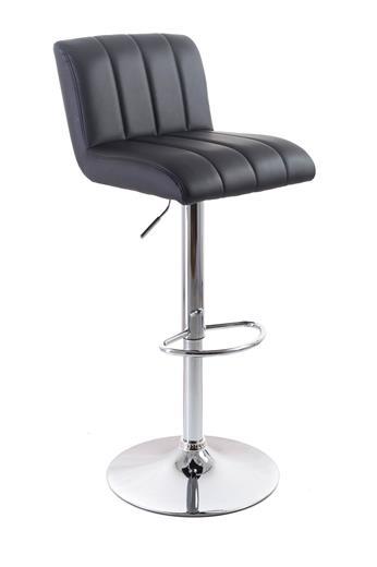 Barová stolička G21 Malea koženková, prešívaná black