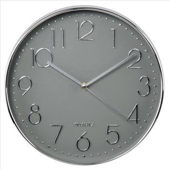 Hodiny Hama Elegance průměr 30 cm, tichý chod, stříbrné/šedé