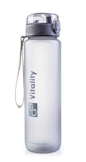 Fľaška G21 na pitie, 1000 ml, sivá-zmrznutá