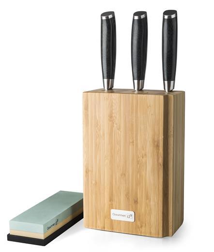 Sada nožov G21 Gourmet Damascus v bambusovom bloku 3 ks + brúsny kameň