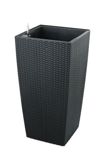 Samozavlažovací kvetináč G21 Linea ratan big čierny 76 cm