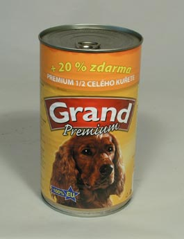Konzerva Grand  pes Extra s 1/2 kuřete 1150g