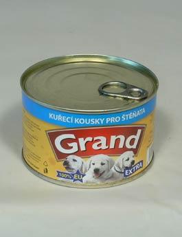 Konzerva Grand  štěně Extra kuř.kousky 405g