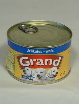 Konzerva Grand  štěně,kočka Delikates mas.směs 405g
